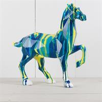 Häst,gul och blå, massiv, poly