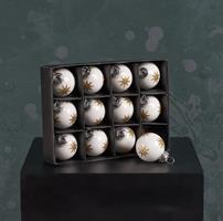 Glaskulor, 12-pack, vita med guldstjärnor