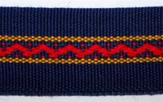 Damebånd - Marine blå, rød og gul