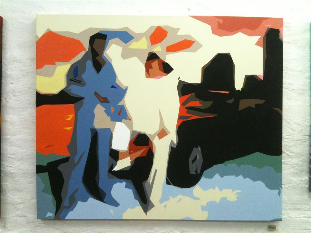 Crocket & Tubbs, acrylics and laquer on canvas 2013.