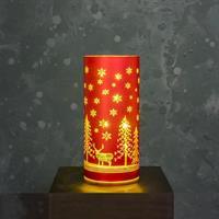 Glasrör LED julmotiv, röd