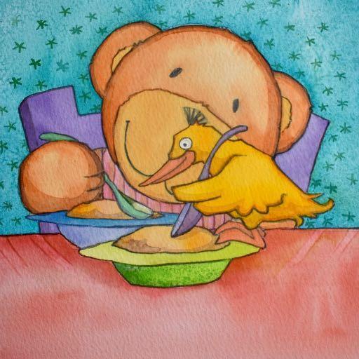 Gakka spiser med skje