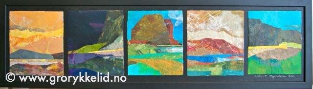 5 Naturinntrykk, collage m ramme