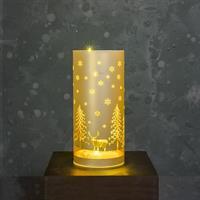 Glasrör LED julmotiv guld