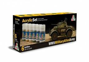 Acrylmaling Set. 6 stk. WWII Military Allied Army