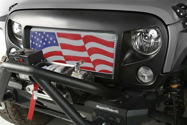 Spartan grill med USA's flagga