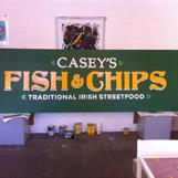 Handmålad skylt till Casey's Fish & Chips 2014. Handpainted sign for Casey's Fish & chips 2014.