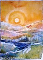 Høstlandskap 3, akvarell 28 x 37 cm u ramme