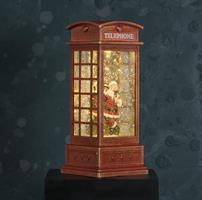 Lykta vattenglob, telefonkiosk, tomte, LED