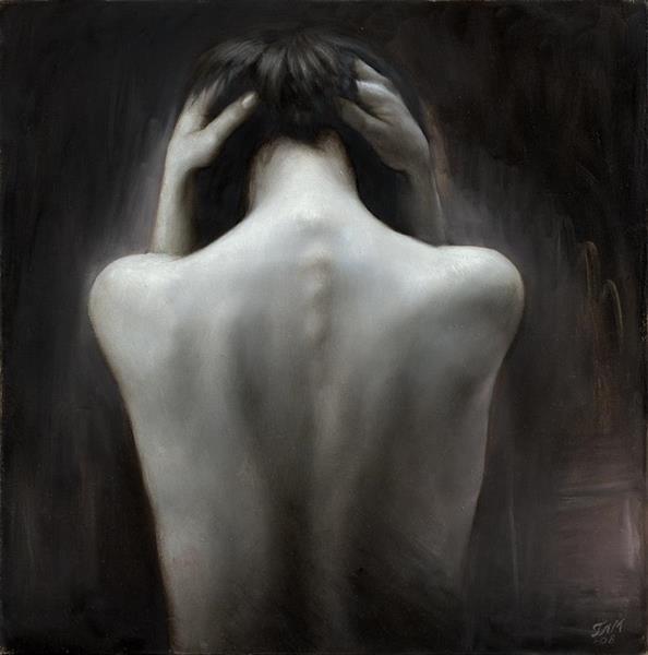 Terje Adler Mørk - Womans back in grey
