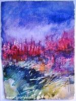 Høstlandskap 4, akvarell 28 x 37 cm u ramme