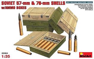 Soviet 57mm & 76mm Shells w/Ammo Boxes
