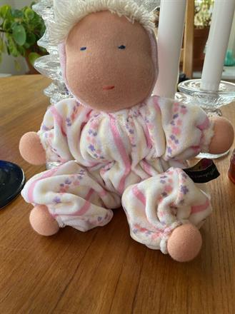 Ny ovanlig velour vita, gula, rosa ränder o en rand med rosa o lila blommor