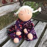 Large waldorf-doll with white braids and purple velor with small flowers - SEK 350! - SEK 350!