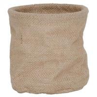 Kruka i form av en jutevävs säck med plast på insi