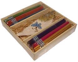Ask med rökelser och rökelsehållare 11x11x2 cm
