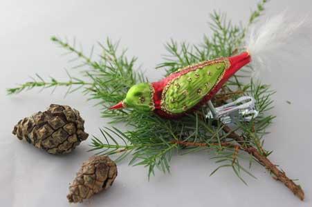 Fugl, cerise og kiwigrøn