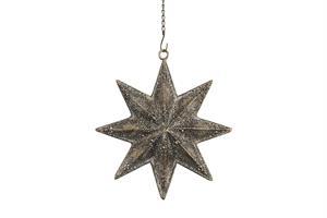 Metall stjärna i brunt m guldfärg