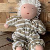 Middle sized Waldorf hug doll with short white hair