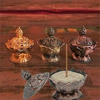 Rökelsehållare Lotus kopparfärgad