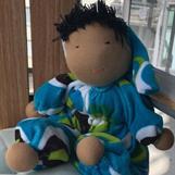 Marimekko inspirerad ljusblå velour i dräkt och luva,  Ca 35 cm lång, exklusive luva - klicka för att beställa!