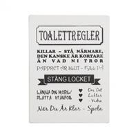 Träskylt Toalettregler