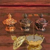 Rökelsehållare Lotus guldfärgad