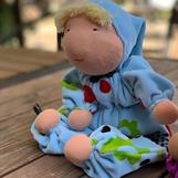 Large Waldorf hug doll with a hood, blond hair and hoos