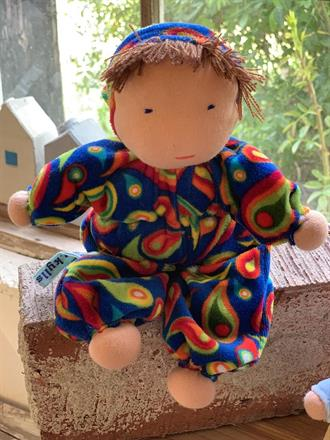 SOLD!!! Middle sized Waldorf hug doll with a hood and brown hair - SEK 250