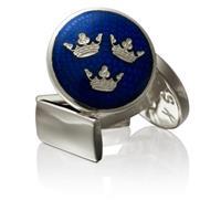 Manschettknappar, Three crowns, blå/silver