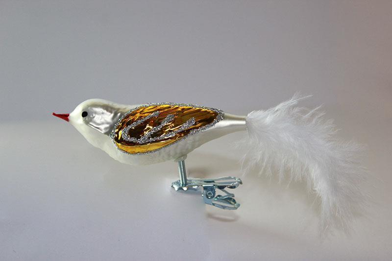 Fugl, hvit og gull
