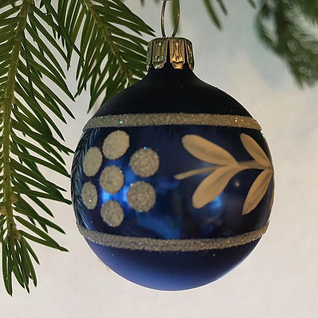 Julekule, matt blå, 4 cm