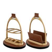 Skrivbordsset Marquise mässing/brunt läder