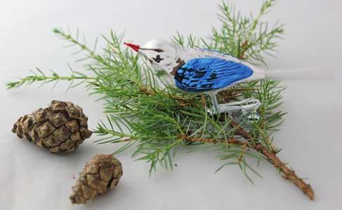 Fugl, sølv og blå