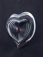 Spiral Hjärta med rött kristallhjärta