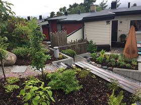 innholdsrik park i liten rekkehus gårdsplass