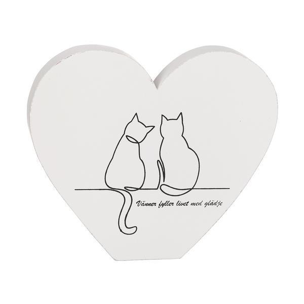 Stående hjärta med kattmotiv