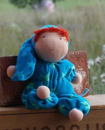LARGE WALDORF DOLL WITH HOOD AND RED HAIR - SEK 300