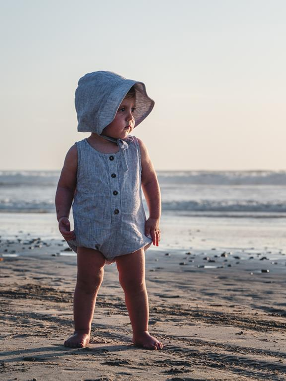 The freedom romper, French stripe