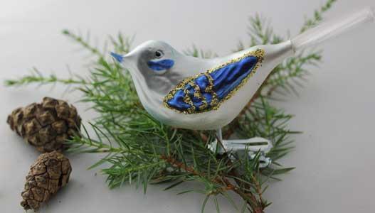 Naturfugl, hvit/blå