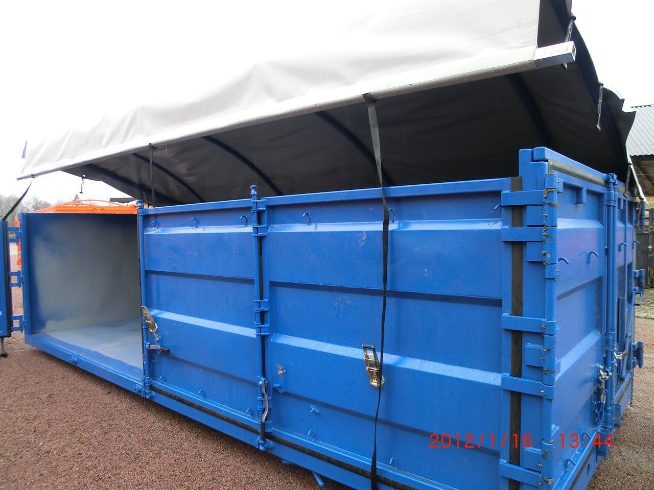 Fliscontainer med öppningsbart tak & Sida