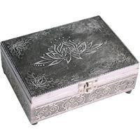 Tarot ask eller smyckeskrin med Lotus Silverfärgad