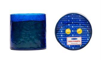 Nagchampaljus 2 veks med blått glas