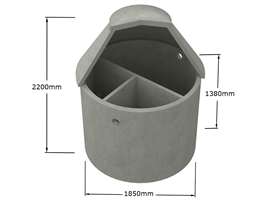 Tranåsbrunnen slamavskiljare betong 4000 liter BDT+WC