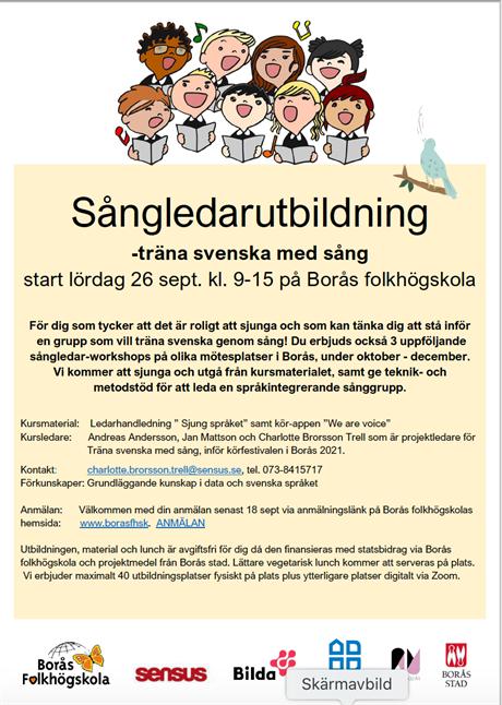 Sångledar-utbildning lö 26/9