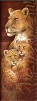 Diamond Painting, Løve m/2 barn 20*50cm (A0158) FPR