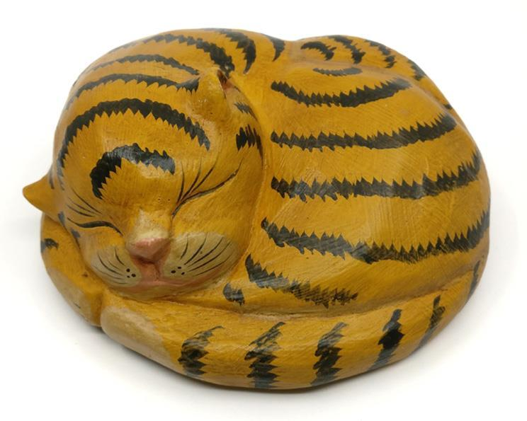 Bali - Sovande katt 17cm gul (6 pack)