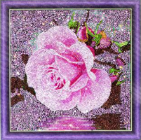 Diamond Painting, Rosa rose 30*30cm AC834) GLITTER