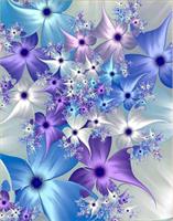 Diamond Painting, Fantasiblomster i blå/lilla farger 40*50cm FPR