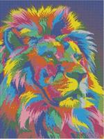 Diamond Painting, Fargerik løve 40*50cm FPK